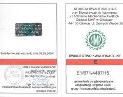 Świadectwo kwalifikacyjne E1/671/4487/15